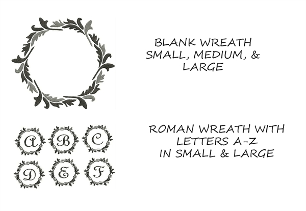 meringue designs  roman wreath monogram