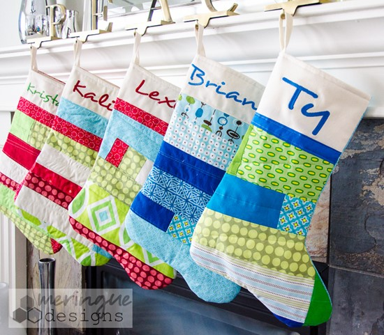 Meringue Designs. Patchwork Christmas Stockings Pattern