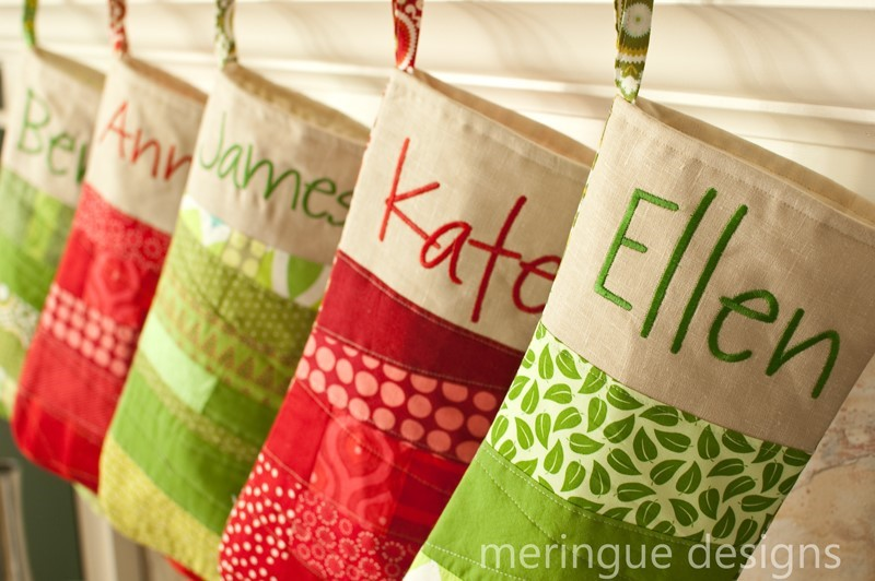 picture of patchwork christmas stockings pattern - Pictures Of Decorated Christmas Stockings